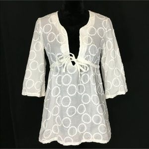 J.Crew XS Tunic Top Embroider Dot Cover Up Empire
